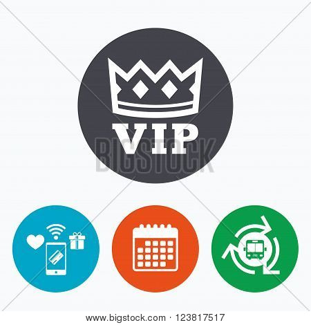 Vip sign icon. Membership symbol. Very important person. Mobile payments, calendar and wifi icons. Bus shuttle.