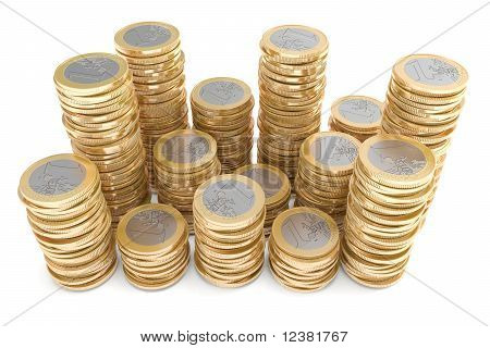 Piles of one Euro coins