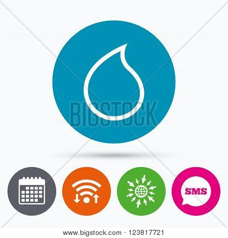 Wifi, Sms and calendar icons. Water drop sign icon. Tear symbol. Go to web globe.