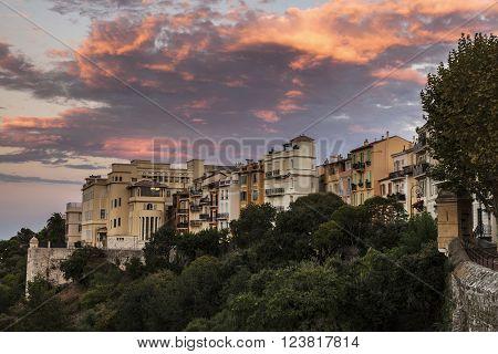 A colorful sunset in Monaco. Monaco-Ville, Monaco.