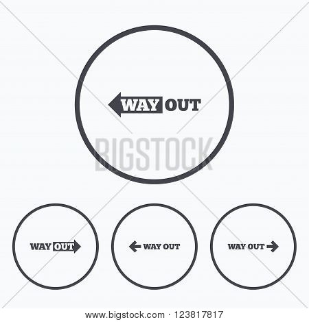 Way out icons. Left and right arrows symbols. Direction signs in the subway. Icons in circles.