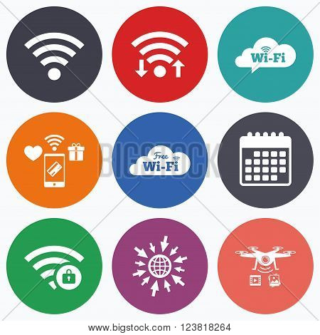 Wifi, mobile payments and drones icons. Free Wifi Wireless Network cloud speech bubble icons. Wi-fi zone locked symbols. Password protected Wi-fi sign. Calendar symbol.