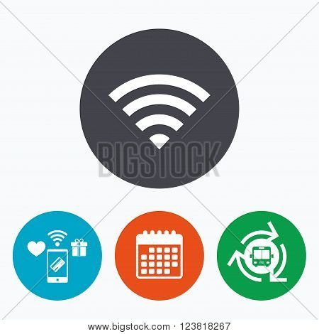 Wifi sign. Wi-fi symbol. Wireless Network icon. Wifi zone. Mobile payments, calendar and wifi icons. Bus shuttle.