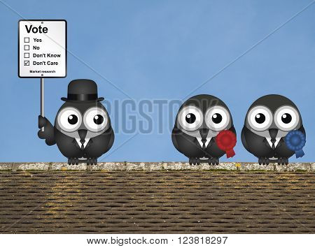 Comical market research voting intention sign with bird left wing and right wing politicians perched on a rooftop against a clear blue sky