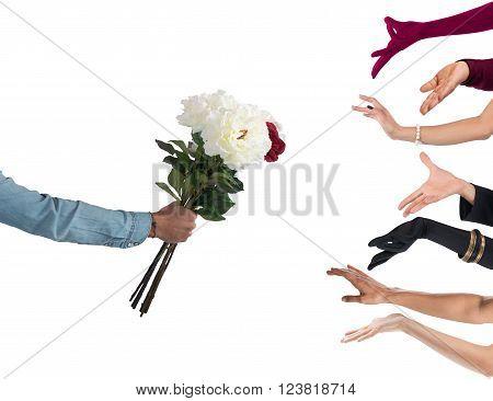 Seducer boy handing flowers to many women