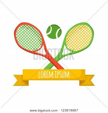 Vector cartoon tennis concept with tennis rackets and ball. Tennis championship concept