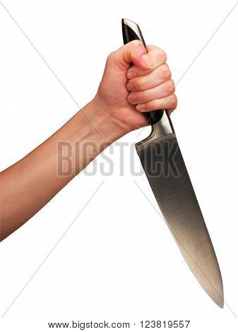 Hand holding kitchen knife isolated on a white background