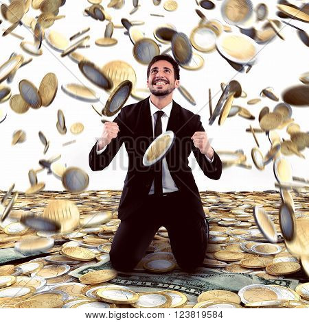 Businessman exults under a rain of money