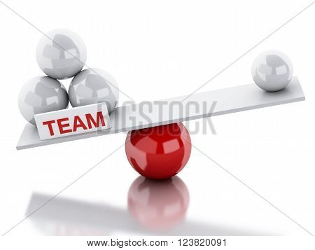 3D Illustration. Seesaw balance between teamwork and leadership. Business concept. Isolated white background.