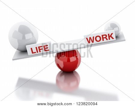 3D Illustration. Seesaw balance between life and work. Business concept. Isolated white background.