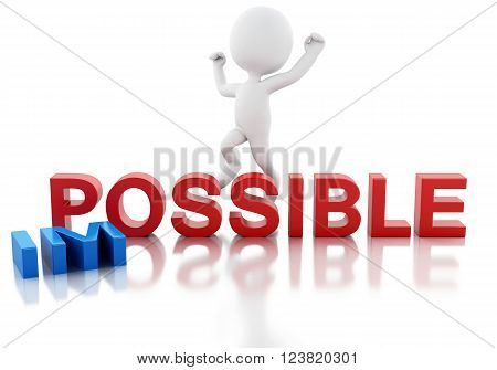 3D Illustration. White people turning word impossible into possible. Business concept. Isolated white background.
