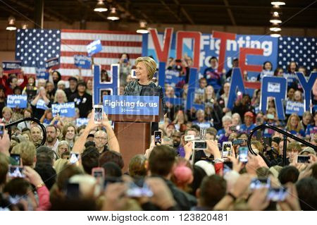 Saint Louis, MO, USA - March 12, 2016: Democratic presidential candidate and former Secretary of State Hillary Clinton campaigns at Carpenters Training Center in St. Louis.