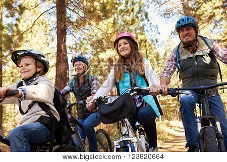 Family mountain biking in a forest, low angle front view