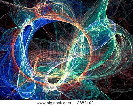 Abstract colored background - computer-generated image. Fractal artwork - chaos curves like tangled yarn. For prints, covers, web-design