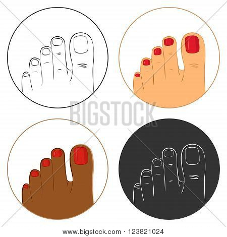 Pedicure and body care vector icon set. Pack of 4 icons white dark brown and outlines. Isolated on white background