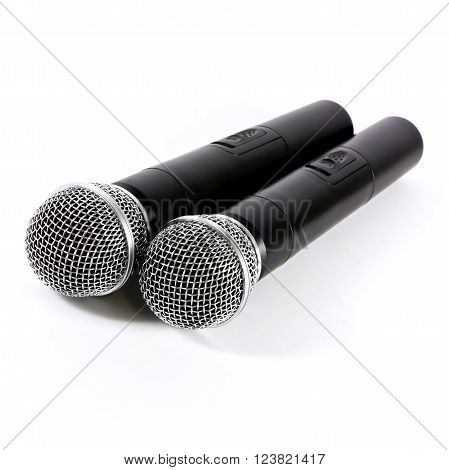 Two microphones wireless on white background, microphone concept, microphone isolated, microphone studio, microphone communication.