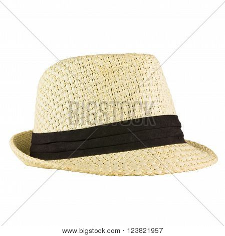 A vintage white hat on white background