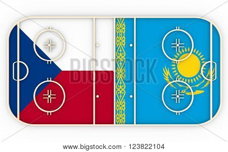 Czech vs Kazakhstan. Ice hockey competition 2016. National flags on playground. 3D rendering