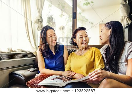 Mother Daughter Happiness Reading Activity Concept