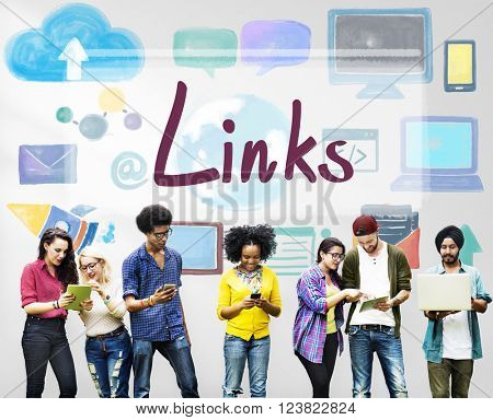 Links Backlinks Hyperlink Linkage Internet Online Concept