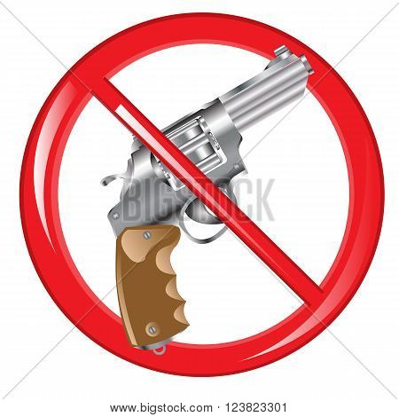 Red sign prohibiting firearm on white background