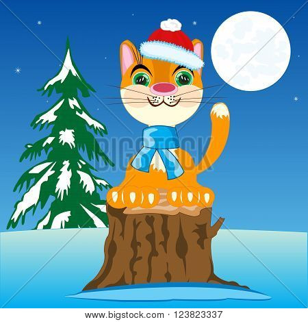 The Christmas cat in in winter wood in the night. Vector illustration.