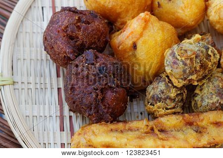 Malaysian traditional foods including fried banana, getuk ubi (made from tapioca), jemput jemput pisang (made from banana and flour). Usually eaten during breakfast or tea time.