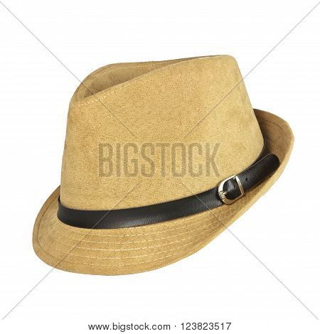 A vintage brown hat on white background.