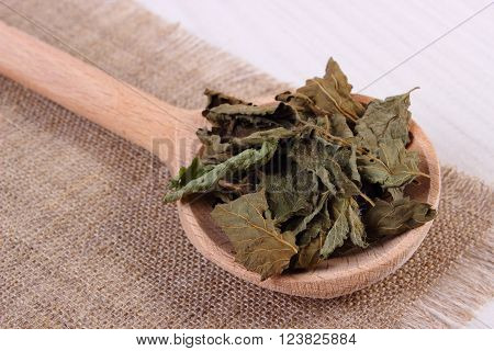 Heap of healthy dried lemon balm with spoon on white wooden table sedative herbs concept for healthy nutrition and herbalism