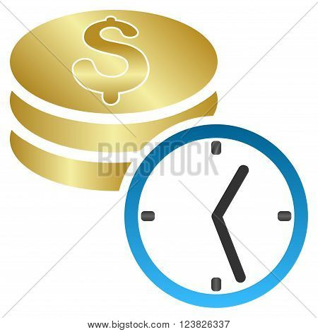 Coins and Time vector toolbar icon for software design. Style is a gradient icon symbol on a white background.