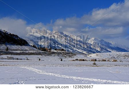 Grand Tetons view from Elk Refuge in Jackson Wyoming USA