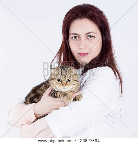 Woman vet in uniform with scottish fold cat on hands
