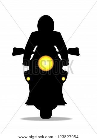 A oder motorcycle and rider in front silhouette over a white background