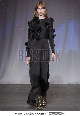 New York City USA - February 13 2016: Bruna Dapper walks the runway during the Jill Stuart Women's show as a part of Fall 2016 New York Fashion Week