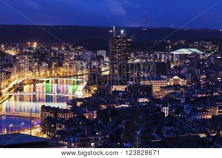 Panorama of Liege at night. Liege Wallonia Belgium