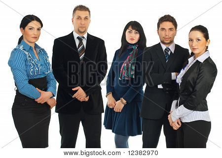 Sad Business People In A Row