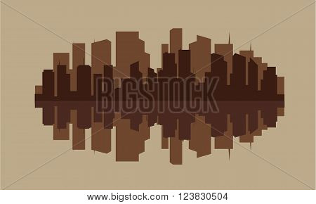 Silhouette of industry with brown color in river