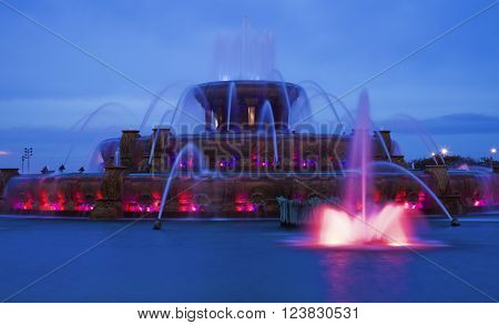 Buckingham Fountain after sunset. Chicago Illinois USA
