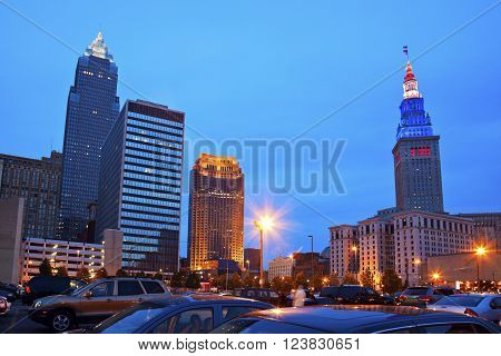 Cleveland downtown evening time. Cleveland Ohio USA.