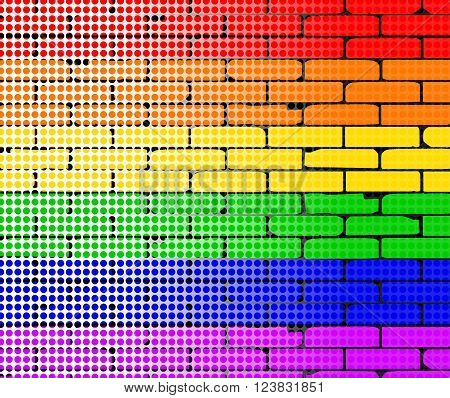 A rainbow wall overlayed with a faded dor matrix