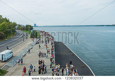 Dnepropetrovsk Ukraine - September 14 2013: City embankment during the City Day celebrations