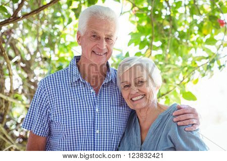 Portrait of smiling senior couple with arm around