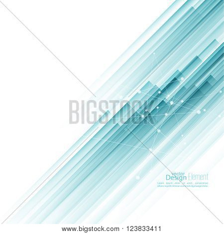 Abstract background with blue diagonal stripes. Concept new technology and dynamic motion. Digital Data Visualization.  Annual Report with information dots, circle