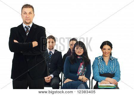 Business Man Teacher In Classroom