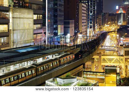 Hong Kong downtown at night