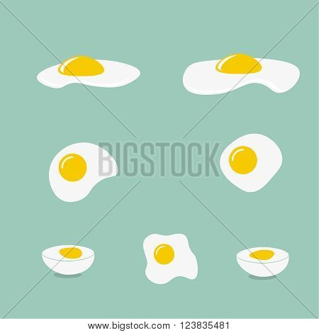 Icons with a fried egg, boiled egg. Different forms of eggs.