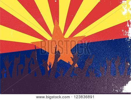 Audience happy reaction with Arizona State flag background