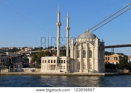 Ortakoy Mosque and Bosphorus Bridge in Istanbul Turkey