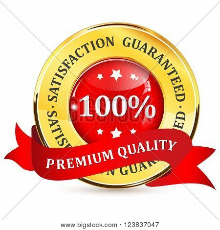 Premium quality. 100% satisfaction guaranteed - golden red label with ribbon