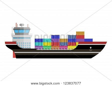 Cargo ship. Freight shipping by water. Commercial container ship, industrial and logistic, vector illustration in flat design isolated on white background